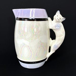 Vintage Small Lusterware Cat Handle Pitcher